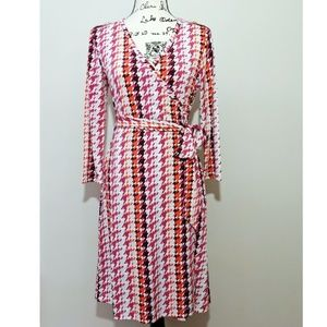 Banana Republic Houndstooth Stretch Wrap Dress